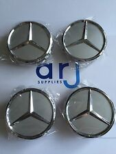 4x MERCEDES BENZ ALLOY WHEEL CENTRE CENTER CAPS SILVER 75MM A B C E S ML S Class