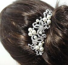 New beautiful elegant wedding bridal hair comb pearl and crystal #1229