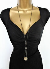 "Beautiful 38"" Long Chain Necklace & AB Diamante Disco Ball Pendant Dark Silver"