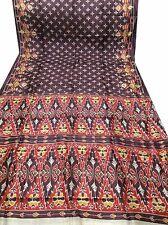 OMSARIHOUSE VINTAGE INDIAN SARI PURE SILK BROWN PATOLA PRINT CRAFT SAREE ,G9060