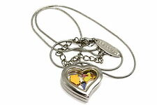 DISNEY HEART LOCKET SILVER NECKLACE FLOATING WINNIE THE POOH & FRIENDS CHARMS