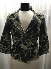 White House Black Market Black Cream Women's Crop Blazer Jacket Size 4 NWT $168
