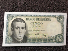 SPAIN EL BANCO DE ESPANA CINCO PESETAS 1951 JAIME BALMES EXCELLENT CONDITION