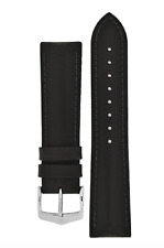 22mm Hirsch JAMES Calf Leather Performance Watch Strap in BLACK NEW