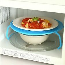 Kitchen Microwave Oven Double Layer Rack Cover Dish Holder Insulating Plate Tray