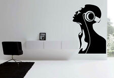 dj music headphones ear vinyl Quote Wall Stickers Art room Removable Decals DIY