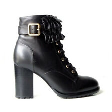 BETSEY JOHNSON Boots Allexis Ruffle Black Leather Ankle Zip Combat Sz 7.5 - NEW