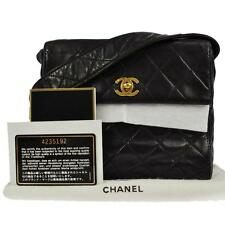 """AUTHENTIC $3,300 CHANEL 7"""" BLACK QUILTED LAMBSKIN SHOULDER BAG PURSE TCV01713"""