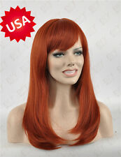 Fashion Women Long Red Brown Straight Heat Natural Party Cosplay Hair Full Wigs