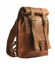 Real genuine leather Vintage Backpack laptop satchel brown vintage handmade bag