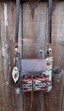 Pendleton Wool Fabric Leather Messenger Cross Body Purse Bag Native American