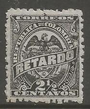 COLOMBIA 1888. 2-1/2c Negro/Lila Tarde Tarifa Sello SG: L136. Mint Nunca Nuevo