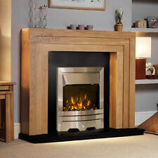 ELECTRIC OAK WOOD SURROUND SILVER STONE GRANITE FIRE FIREPLACE SUITE LARGE 54""