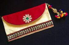Boho-Chic Ethnic Red Vintage Style Envelope Clutch Bag-Indian Wedding Accessory