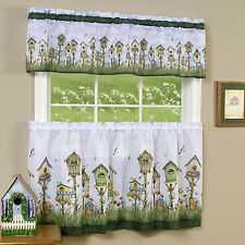 "Home Sweet Home Birdhouse Kitchen Curtain 36"" Tier Pair & 13"" Valance Set"