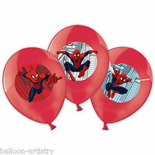6 MARVEL THE AMAZING SPIDER-MAN PARTY 4 COLORI Stampato Rosso Lattice Palloncini