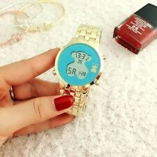 TOUSS electronic watches lucky bear all steel fashion watches Blue Gold color
