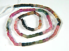 "Nice Multicolor Tourmaline Smooth Rectangular Tube Gemstone Beads 14.25"" Strands"