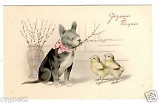POSTCARD EASTER GREETINGS FRENCH BULLDOG WITH CHICKS