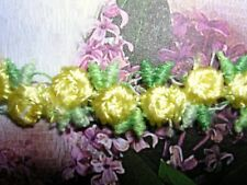 "5y Venise Lace Rosebuds  3/8"" Yellow w/ Green Rayon Dolls Trim #2290"