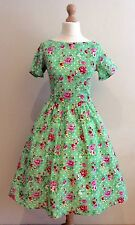 LADY VINTAGE LONDON GREEN FLORAL ELOISE DRESS SIZE 8 - 10 50's STYLE