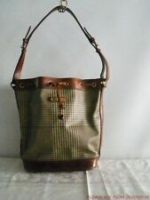 Vtg Polo Ralph Lauren Houndstooth Logo Canvas & Leather Bucket Bag Tote Purse