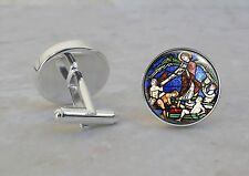 Medieval Stained Glass Church Angel Art Image 925 Sterling Silver Cuff Links