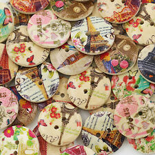 50pcs  Wholesale Tower Flower 2 Holes Wooden Buttons Sewing DIY Craft Clothing