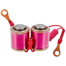"""Ringmaster Irons Tattoo Coil 10 Wrap Wired Pair 35V 47UF Round Top 1"""" Liner Pink"""