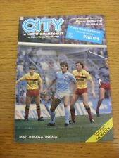 04/05/1987 Manchester City v Nottingham Forest  (Item In Good Condition)
