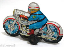 Vintage Antique POLICE Motorcycle Bike Tinplate Friction Retro Toy Japan 1960's