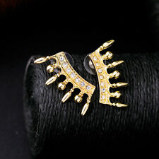 Bauble Gold Deco Ear Crawlers Spike Ball Linear Earrings Crown Shaped Punk Studs