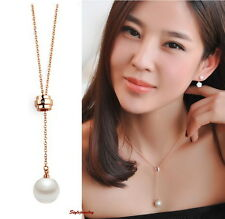 Rose Gold Fill Swarovski Crystal Adjustable Long Chain White Pearl Necklace N116