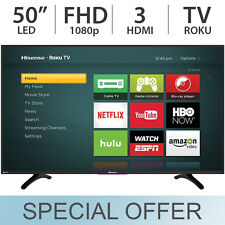 "Hisense 50"" inch FULL HD1080p 60Hz LED Smart TV with Roku & 3 HDMI 50H4C - NEW"