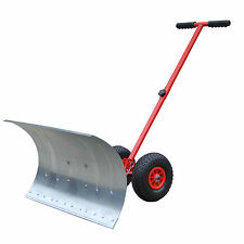 "HOMCOM 17.7"" Deep Steel Snow Shovel Snowplough Removal with Wheels"