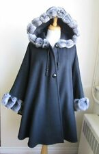 Women's Brand New  Cashmere Wool & Real Chinchilla Fur  Wrap Cape with Hood WOW