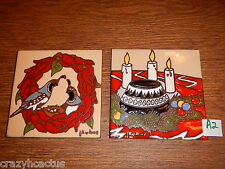 Ceramic Tile 6x6 Christmas Set of 2 Chili Peppers Southwest L. Kuhne A2 Native