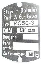 Original Steyr-Daimler-Puch A.G.-Graz Typenschild MC5-30 Pionier, Fahrwerk Mofa