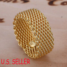 Designer Inspired 18K Yellow Gold Filled 10mm wide Flexible Mesh Band Ring B241