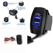 Car Dual Port USB Charger Socket Panel Mount 3.1A Output Rocker Switch Blue LED