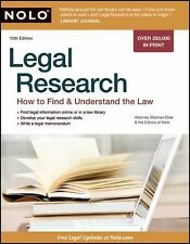 Legal Research : How to Find and Understand the Law by Nolo Press Editors and St