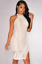 Abito cono nudo pizzo ricamato aderente Spacco Lace Nude Illusion Mini Dress