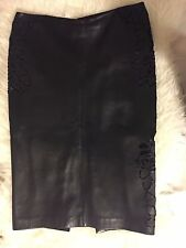 GIANNI VERSACE COUTURE LAMBSKIN LEATHER FLORAL CUT OUTS PENCIL SKIRT~STUNNING!!!