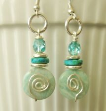 Silver wire spiral green stone,crystal beads,silver discs drop dangle earrings