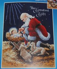 Kneeling Santa Cross-Stitch Kit 11x14.5 Baby Jesus 2011 Manger Christmas New