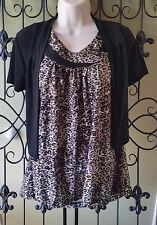 Womens CATO leopard tank top black cropped cardigan bolero jacket S Small outfit