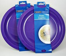 "New Microwave Oven Safe, 9.75"" Microwavable Plates, Washable Reusable 4Pk Purple"