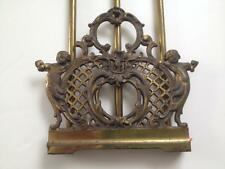 Victorian Brass Sliding Book Rack Cherubs / Children  Lattice