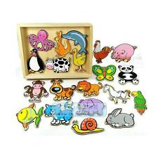 20 PCS Kids Magnetic Animals Fridge Magnet Toys In Wooden Toy Box
