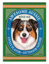 Retro Dogs Refrigerator Magnets - Awesome Aussie Ale (Australian Shepherd)